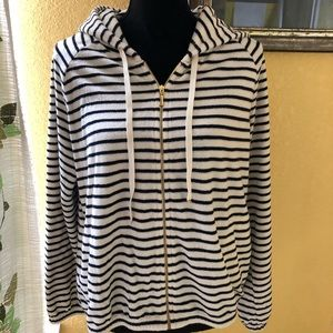 Juicy Couture Terrycloth Blue Stripe Zip Hoodie XL